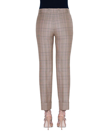 Akris Maxima Plaid Wool Crop Pants
