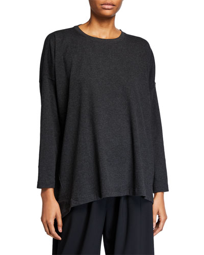 Round-Neck Long-Sleeve Smaller Front Larger Back Pima Cotton Jersey T-Shirt