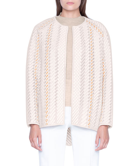 Akris St Gallen Embroidered Wool-Silk Jacket