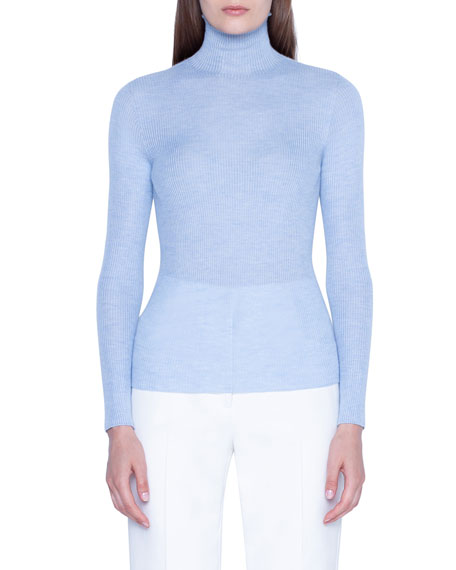Akris Cashmere-Silk Fitted Turtleneck Sweater