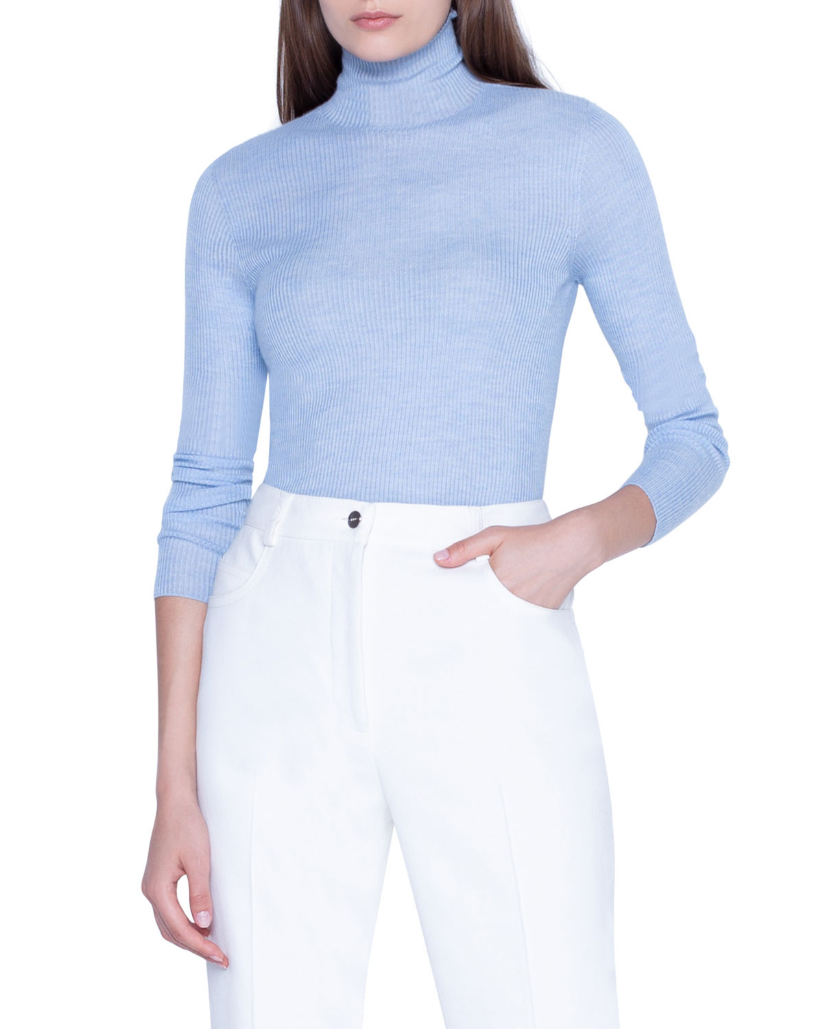 Cashmere Silk Fitted Turtleneck Sweater