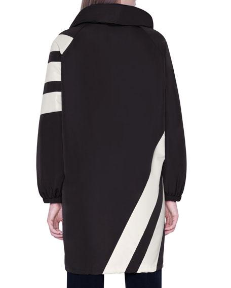 Akris Diagonal-Striped Silk Knee-Length Parka Jacket