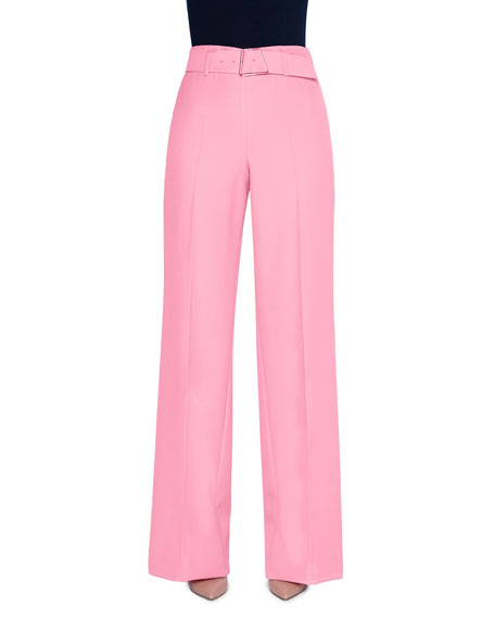 Akris Floriane Crepe Belted Wide-Leg Pants with Geometric-Buckle