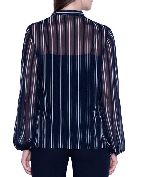 Akris Striped Sheer Silk Button-Front Blouse