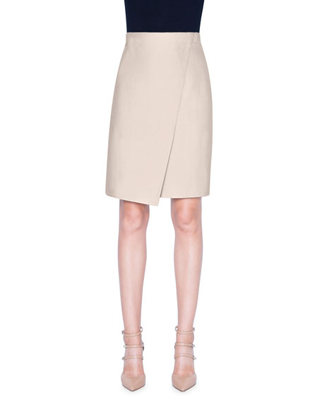 Akris Stretch-Cotton Slit Knee-Length Skirt