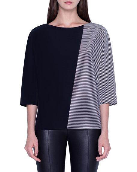 Akris Trapezoid-Striped Silk Crepe Tunic Top