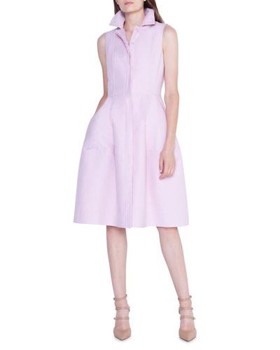 Cotton-Silk Full-Skirt Shirtdress