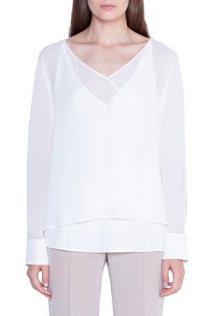 Akris Deep-V Sheer Silk Top w/ Cami