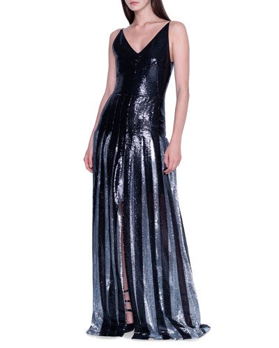 Two-Tone Sequined Pleated Gown