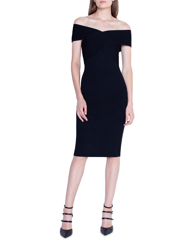 Akris Crisscross Off-the-Shoulder Bodycon Dress