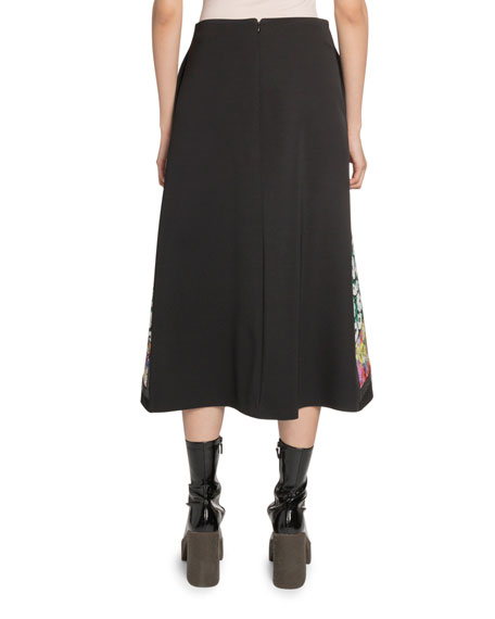 Stella McCartney Patch-Embroidered Silk Skirt