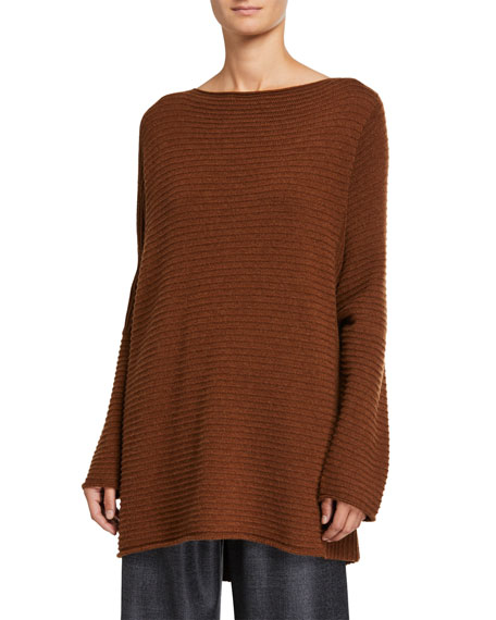 Eskandar Cashmere Slim-Sleeve Caftan Sweater