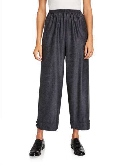 Eskandar Wool-Silk Slim-Leg Japanese Trousers