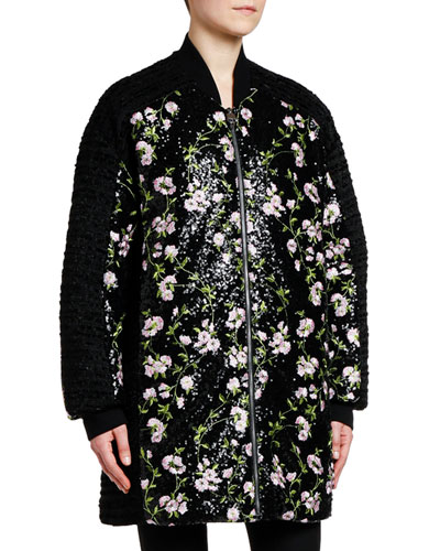 Sequined Floral-Embroidered Coat