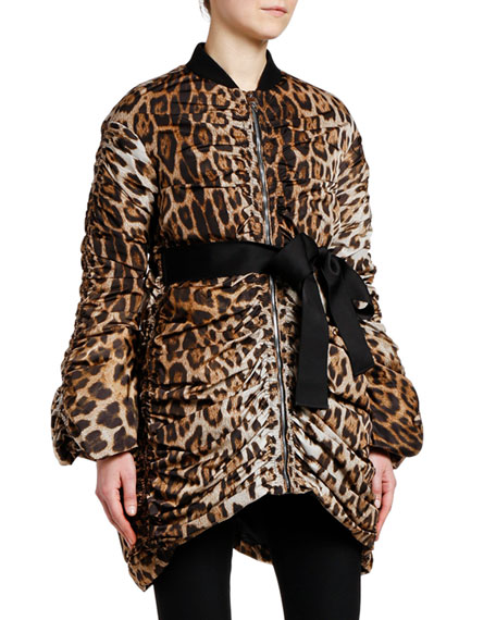 Giambattista Valli Animal-Print Quilted Oversized Coat