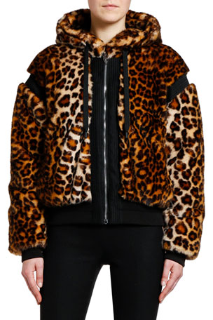 Giambattista Valli Animal-Print Faux-Fur Bomber Jacket