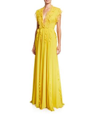 81b5277a6dd6 Giambattista Valli Ruffle-Trimmed Silk Cap-Sleeve Gown