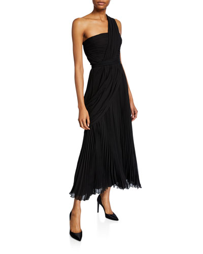 One-Shoulder Pleated Chiffon Gown