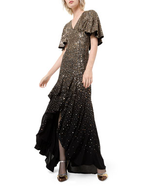 Michael Kors Collection Silk Confetti Capelet-Sleeve Gown