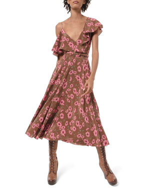 Michael Kors Collection Asymmetric Floral-Print Silk Chiffon Dress