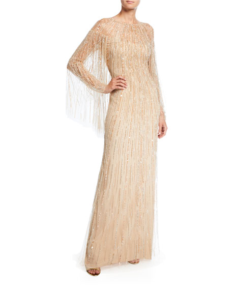 Pamella Roland Linear Crystal Embroidered Tulle Cape Gown