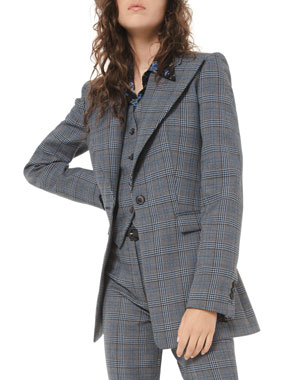 Michael Kors Collection Glen-Plaid Tuxedo Blazer
