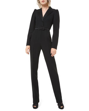 Michael Kors Collection Puff-Sleeve Blazer Jumpsuit