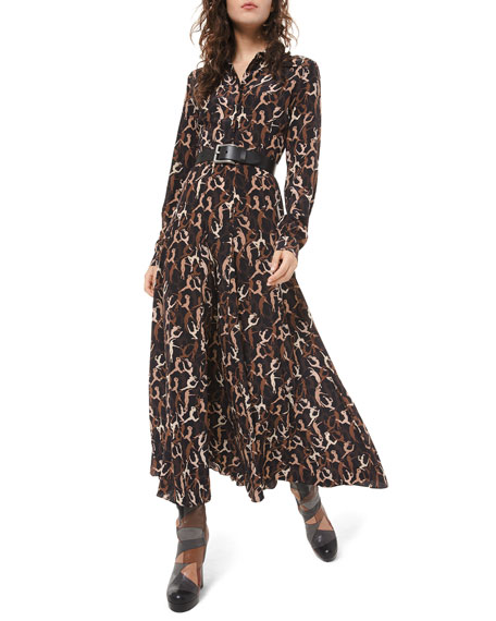 Michael Kors Collection Dancer-Print Crushed Georgette Shirtdress