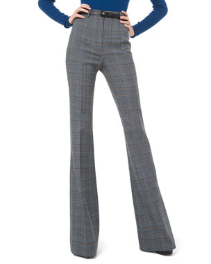 Michael Kors Collection Glen-Plaid Wool High-Rise Flare Pants