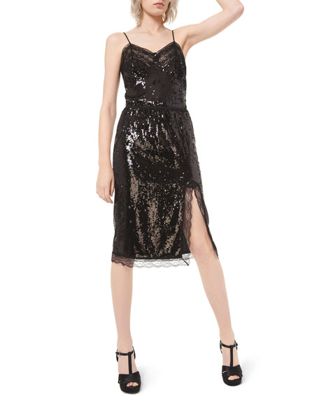 Michael Kors Collection Sequined Lace-Trim Slip Skirt