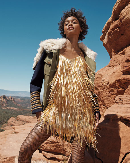 Image 2 of 3: Metallic Fringed-Leather Slip Dress
