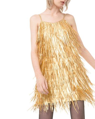 Metallic Fringed-Leather Slip Dress