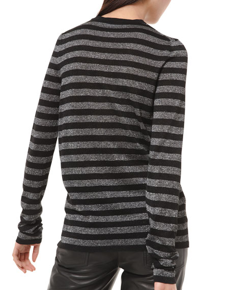 Michael Kors Collection Shimmer-Striped Long-Sleeve Shirt