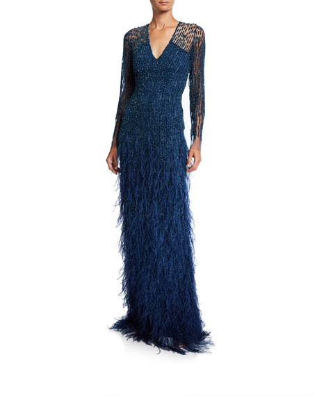 Pamella Roland Ombre Sequined Illusion Long-Sleeve Gown