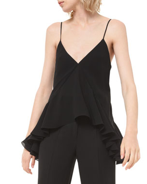 Michael Kors Collection Silk Georgette Ruffled Camisole