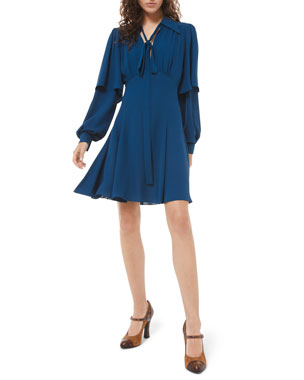 Michael Kors Collection Draped Sleeve Flare Dress