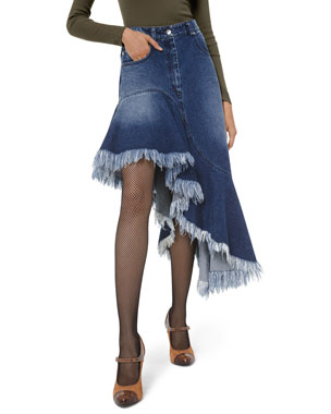 Michael Kors Collection Asymmetric Frayed Denim Skirt
