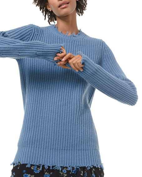 Michael Kors Collection Cashmere Distressed-Trim Sweater