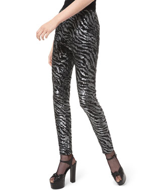 Michael Kors Collection Tiger-Embroidered Cigarette Pants