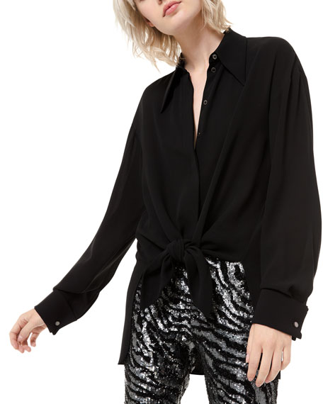 Michael Kors Collection Silk Georgette Tie-Front Shirt