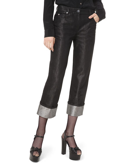 Michael Kors Collection Shimmer-Cuff Straight-Leg Jeans