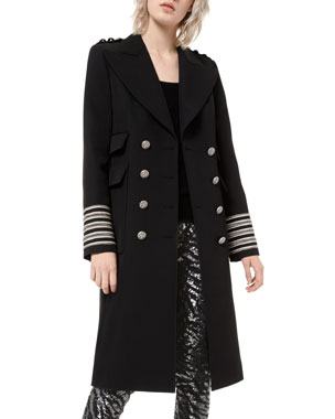 Michael Kors Collection Embroidered Military Coat