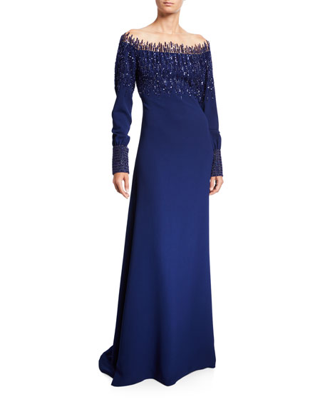 Pamella Roland Embroidered-Neck Stretch Crepe Gown