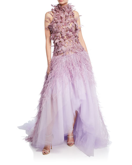 Pamella Roland Feather Embroidered Tulle High-Low Ball Gown
