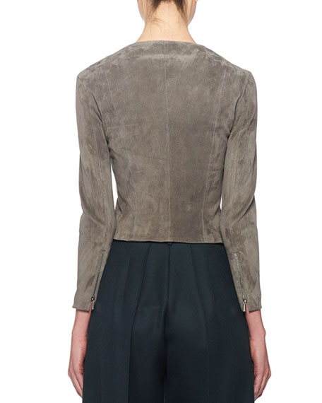 THE ROW Stanta Leather Cropped Zip Jacket