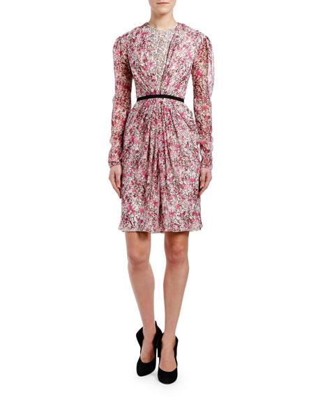 Giambattista Valli Floral-Print Leopard-Underlay Dress