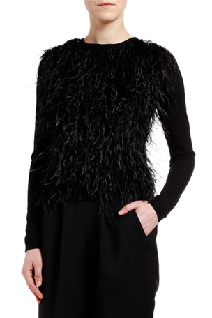 Giambattista Valli Cashmere-Silk Feather-Front Sweater