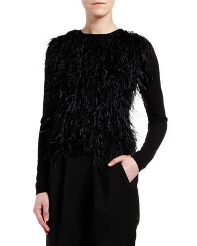 Cashmere-Silk Feather-Front Sweater