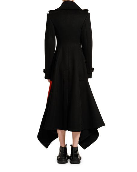 Alexander McQueen Bicolor Compact Wool-Cashmere Flannel Coat