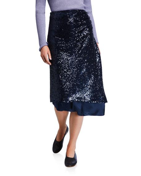 Sies Marjan Skirts Sequined Asymmetric-Draped Skirt
